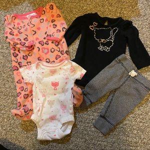 4 Piece 0-3 Months Baby Girl Set  🐆